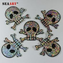 Beautiful Triple Flame Rhinestone Crystal Skull