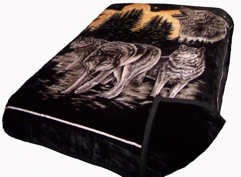 Solaron Two-Ply Mink Blanket (Wolves Black)