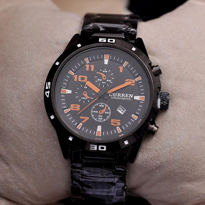 Curren Todo negro Acero Inoxidable marca hombres relojes con Japón movt d34e4740365d