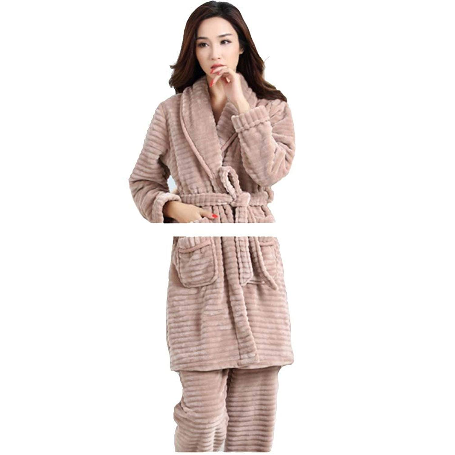b2a09b191d Get Quotations · moxin Bathrobe Women s Flannel Terry Bath Robe Dressing  Gowns Nightwear Robe Men Terry Towel Bathrobe Dressing