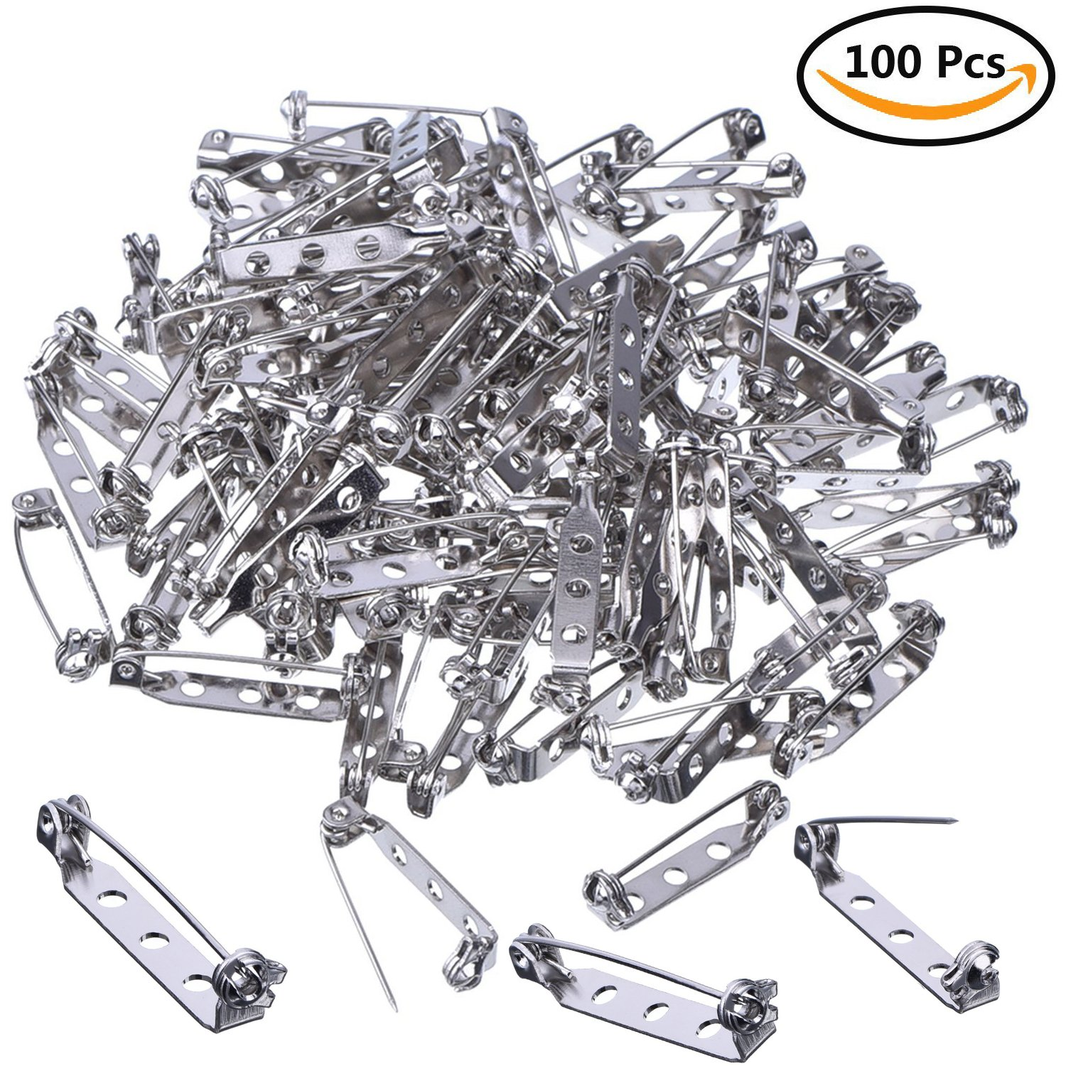 Sliver Name Tags Kesoto 200 PCS Bar Pins Brooch Pin Backs Safety Clasp Badge Fasteners for Craft Projects 25mm Toy Pins and Jewellery Findings Making