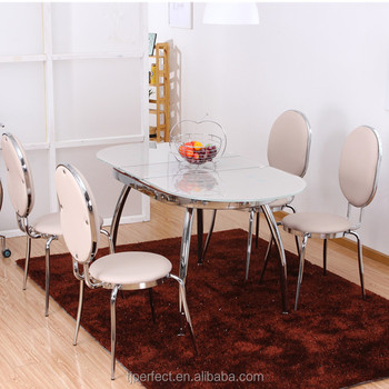 Pratical Modern Extension Top Cream Color Tempered Glass Dining Table And Stainless Leg Big Size