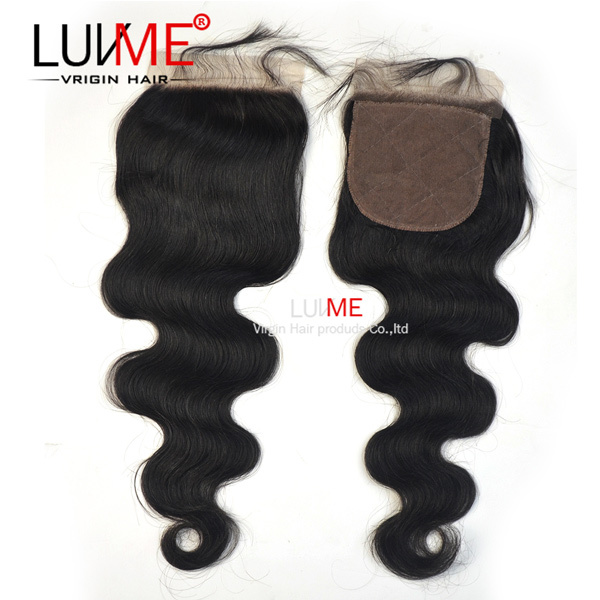 Luvme Hair Silk Base Closure Brazilian Hair Body Wave Cheap Top 8-18 inch Free Part Grade 8A Unprocessed