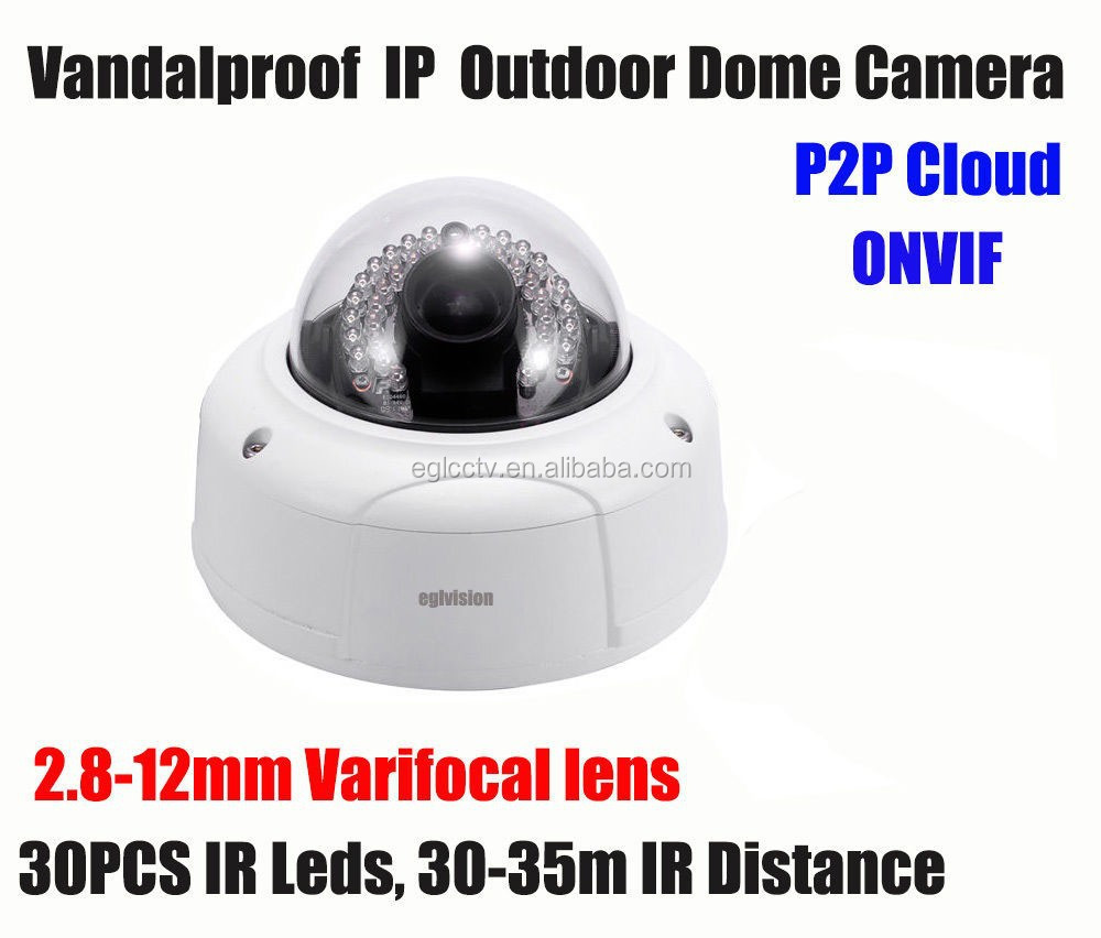 POE 3MP vandal proof varifocal ip ir dome camera with 2.8-12mm lens HD P2P ONVIF