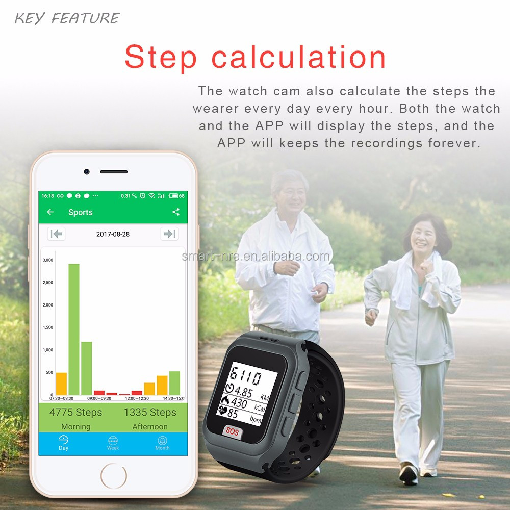 W5 senior watch with heart rate monitor pedometer APP oem watch manufacturer for senior