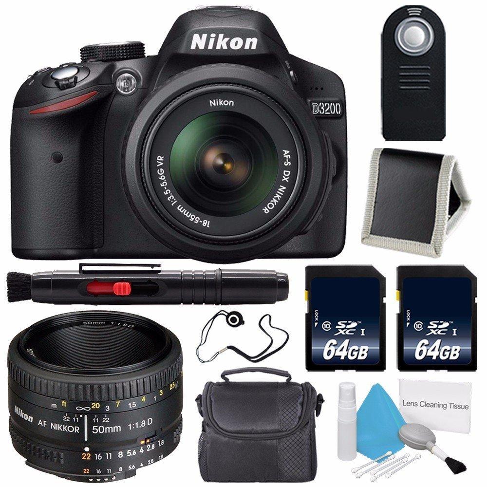 Nikon D3200 Digital Camera w/ 18-55 VR II Lens (International Model No Warranty) + Nikon 50mm f/1.8D AF Nikkor Lens + 64GB SDXC Class 10 Memory Card Bundle 121