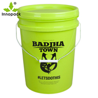 Green Color 20L Australia Hot Sale Plastic PP Bucket with Metal Handle