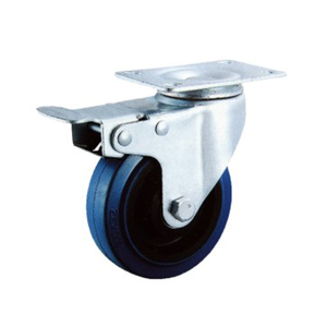 3 Inch Blue Rubber Base Swivel Caster Wheels With Brake