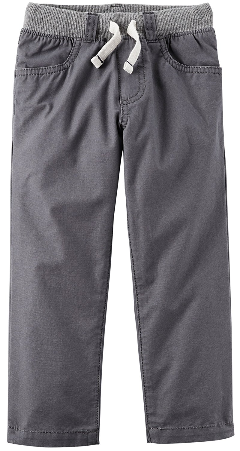 776c3ace9fc Get Quotations · Carter's Grey Boy's Pull-on Twill Utility Pants With Knit  Wasitband and Drawcord (7