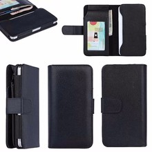 5 inch black cover luxury Wallet Leather Case for iPhone 7 Plus