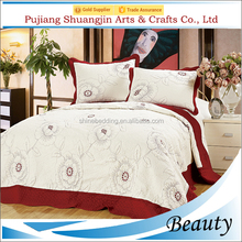 Wholesale 100% polyester hotel bed linen embroidery patch sheet quilt throw set
