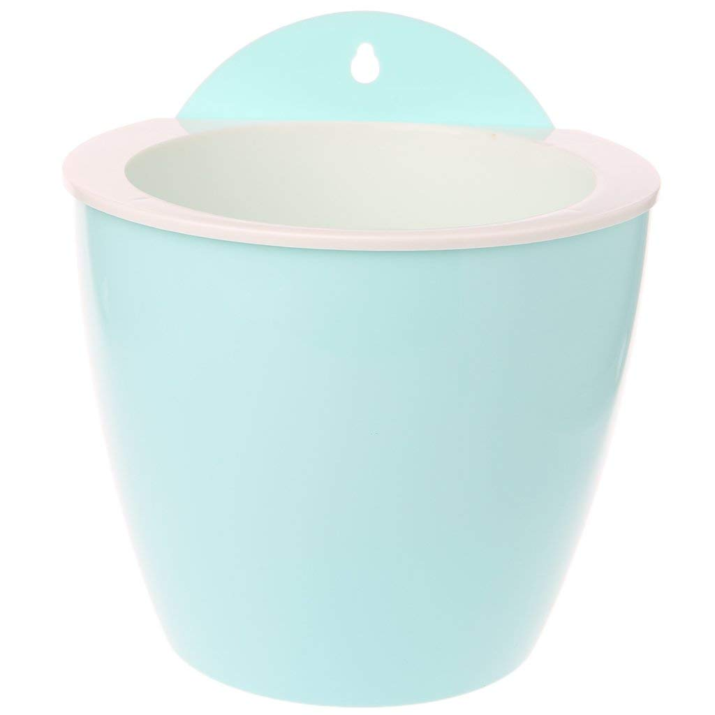 Shoresu Automatic Water Absorption PP Resin Wall Hanging Lazy Flower Pot Holder Balcony - Light Blue (18.8x15.5x19.6cm)