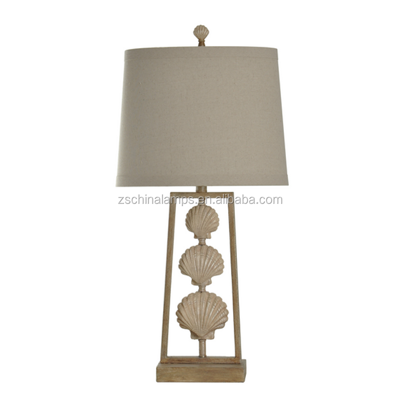 Gold Rectangular Base Candle Holder Table Lamp With Beige Fabric ...