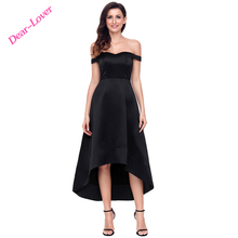 Fashion Black High-shine High-low Party Evening Dress