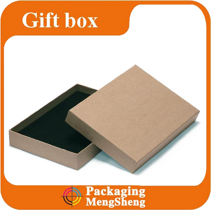 Natural brown embossed logo jewelry packaging box