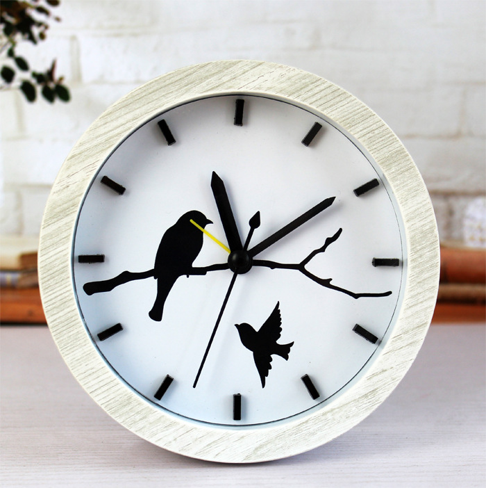 Home Decor Birds Clock Vintage Display Wall Clock Mute