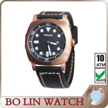 China Manufacturers Calf Leather Strap Men Dive Bronze Watches