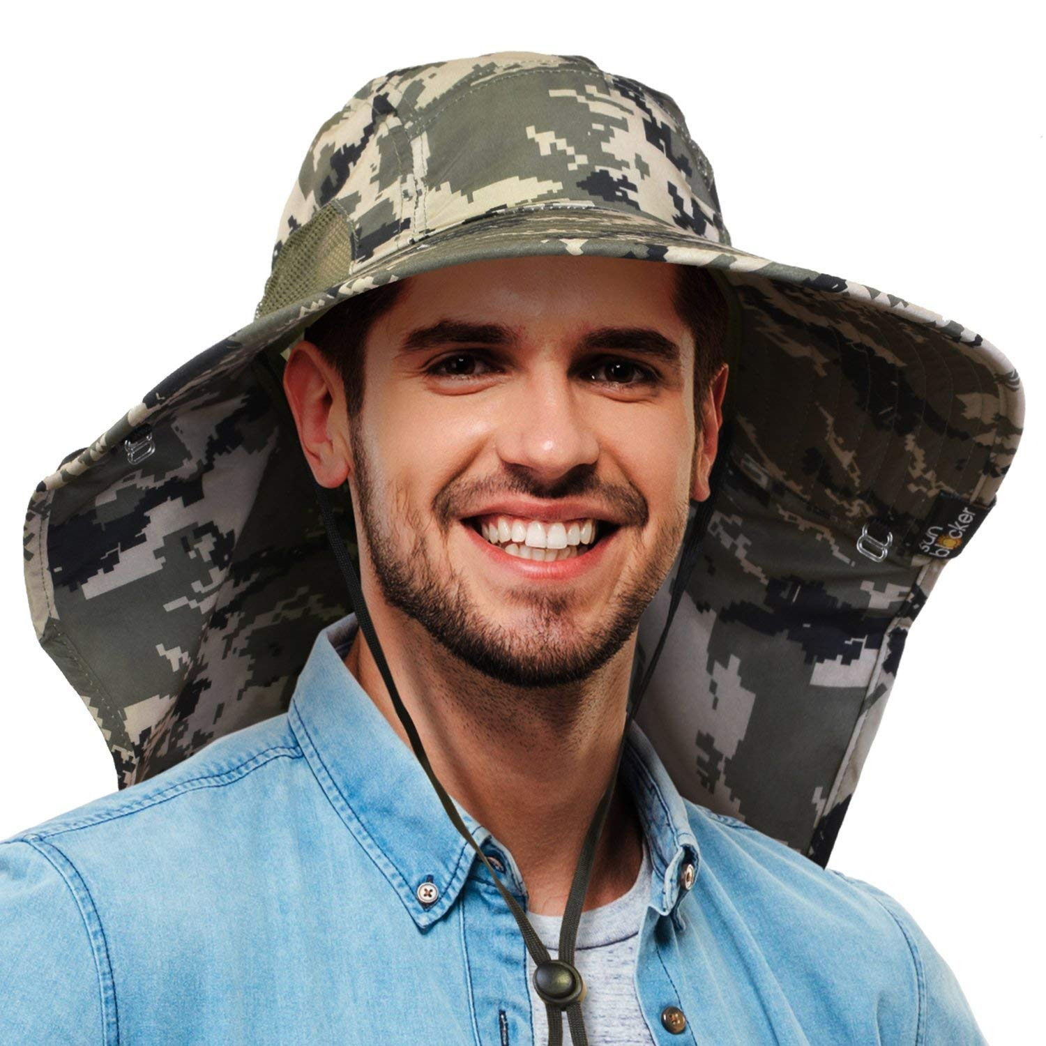 a5c4a5228320d Get Quotations · Tirrinia Mens Wide Brim Sun Hat with Neck Flap Camouflage Fishing  Safari Cap for Women Outdoor