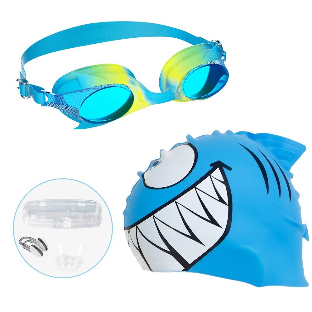 Mounchain Kids Swim Cap 2 Packs or Swim Set with Silicone Waterproof Swim Cap, Nose Clip, Ear Clip, EVA Case, Anti-fog No Leaking UV Protection Swimming Goggles for Kids Toddlers Boys and Girls