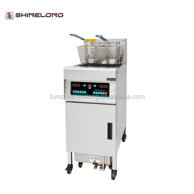 High Power Programmable 28L Electric 1-Tank 2-Basket Deep Fryer with Timer and Oil Filter Cart