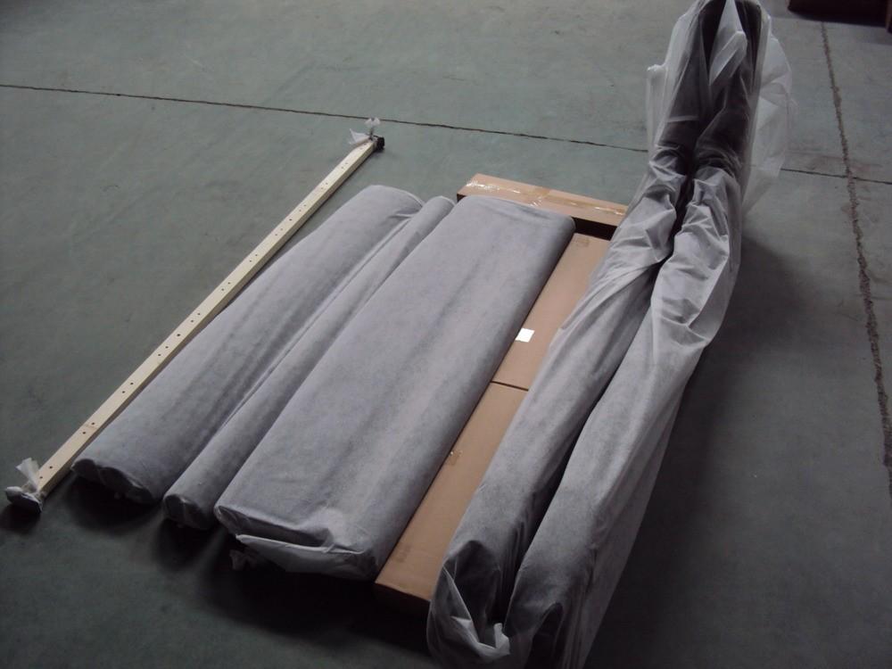 Luxury Silver Black Crushed Velvet Fabric Sleigh Bed
