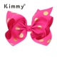 "7"" Pink Polka dot Big Hair Bows Boutique Girls Baby Alligator Clip Grosgrain Ribbon"