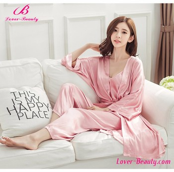 Irresistible Free Cozy Pink Nightie And Robe Set Vest Mature Women Sexy Silk  Long Satin Nightgown 09d6162119
