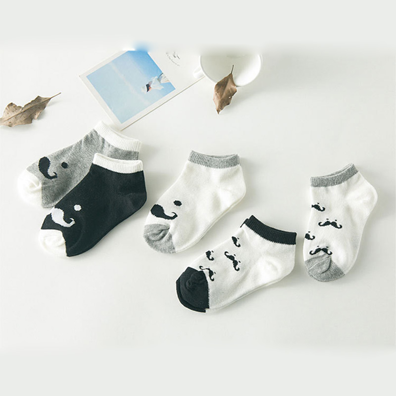Fashion Baby Net Socks 5 pairs lot Cotton Unisex Mustache Pattern LYc757 Cute Baby Kids Ankle