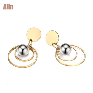 Stainless steel jewelry gold hanging two circle and with fake pearl drop earrings