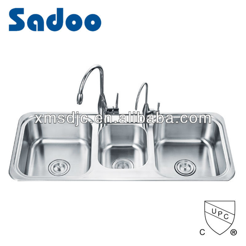 Triple Bowl Stainless Steel Sink With Drainboard Triple Bowl Stainless Steel Sink With Drainboard Suppliers And Manufacturers At Alibaba Com