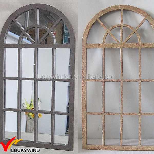Arched wood shabby chic antique window mirror buy for Window arch wall decor