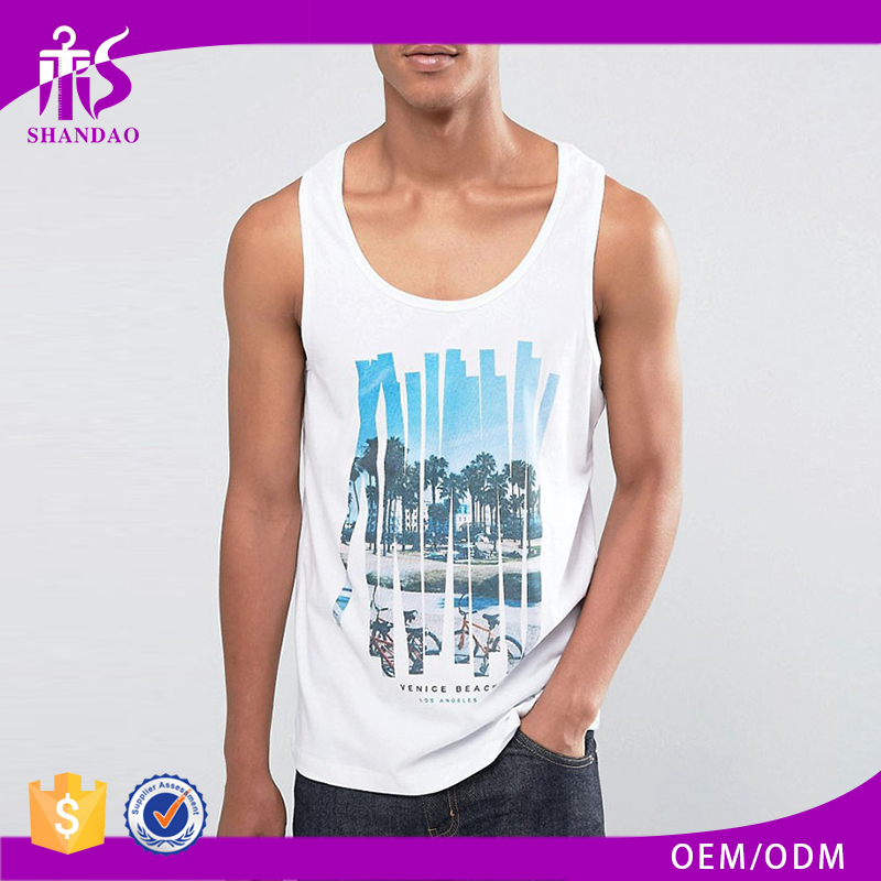 2017 Guangzhou Shandao Factory High Quality OEM Custom Printed 95% Cotton 5% Spandex Wholesale Mens Plain Gym Tank Tops