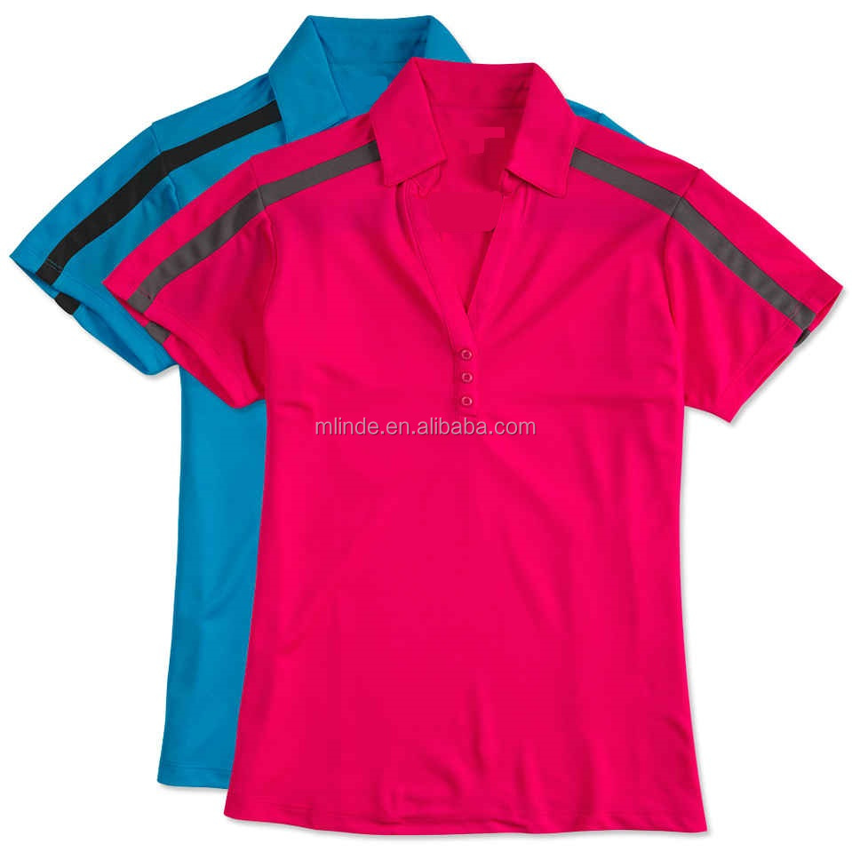 Two Color T Shirt Ladies Silk Touch Colorblock Performance Polo Couple Polo T-Shirt 100% Cotton With 3-Button Y Placket Collar