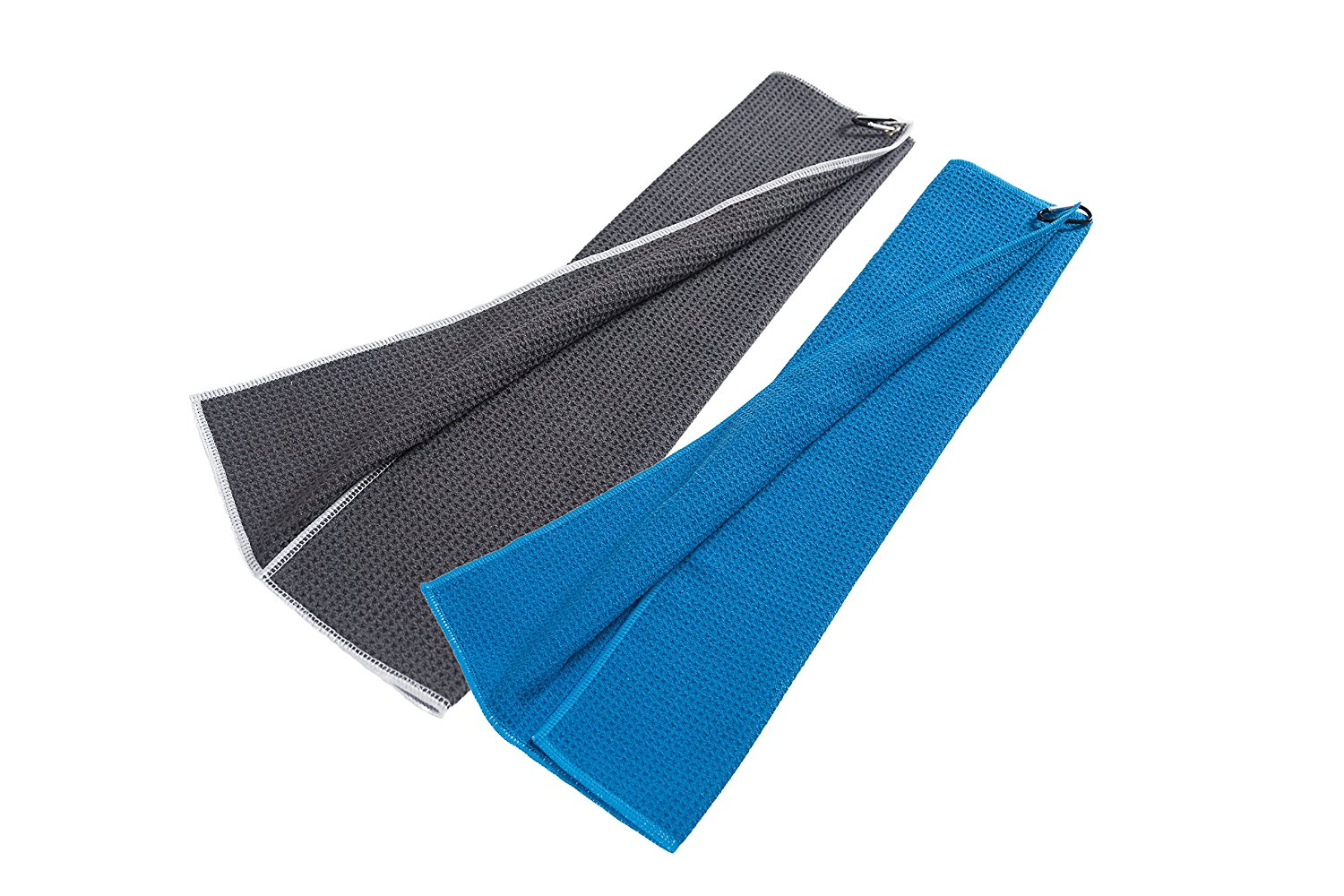 """Microfiber Deep Waffle Weave Golf Towel 2 Pack,Light Weight & Quick Drying. Best for Cleaning All Types of Clubs, Irons & Drivers.(Blue & Gray 16""""x21"""")"""