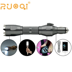 Multifunction Life hammer spotlight cutter power bank USB car charger in one
