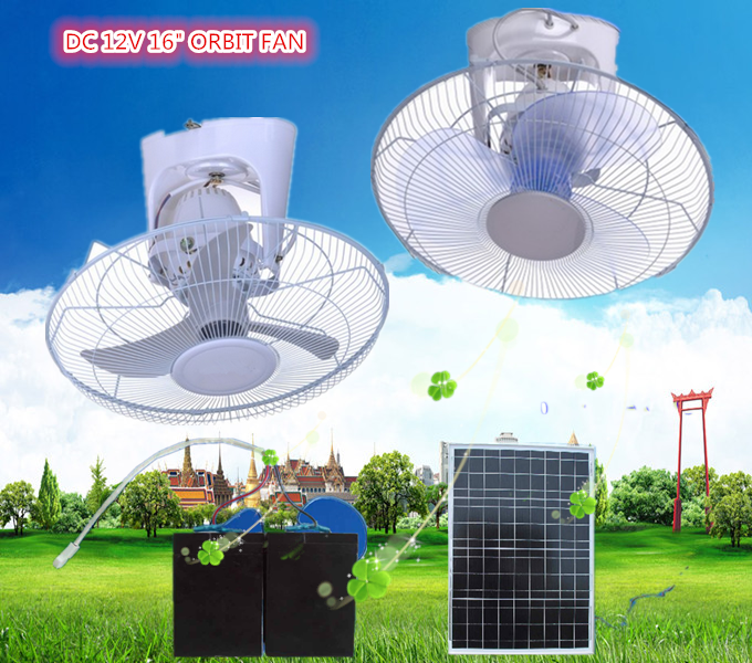 Solar panels for your home 16inch 12V Solar wall mounted fans dc orbit fan with clip