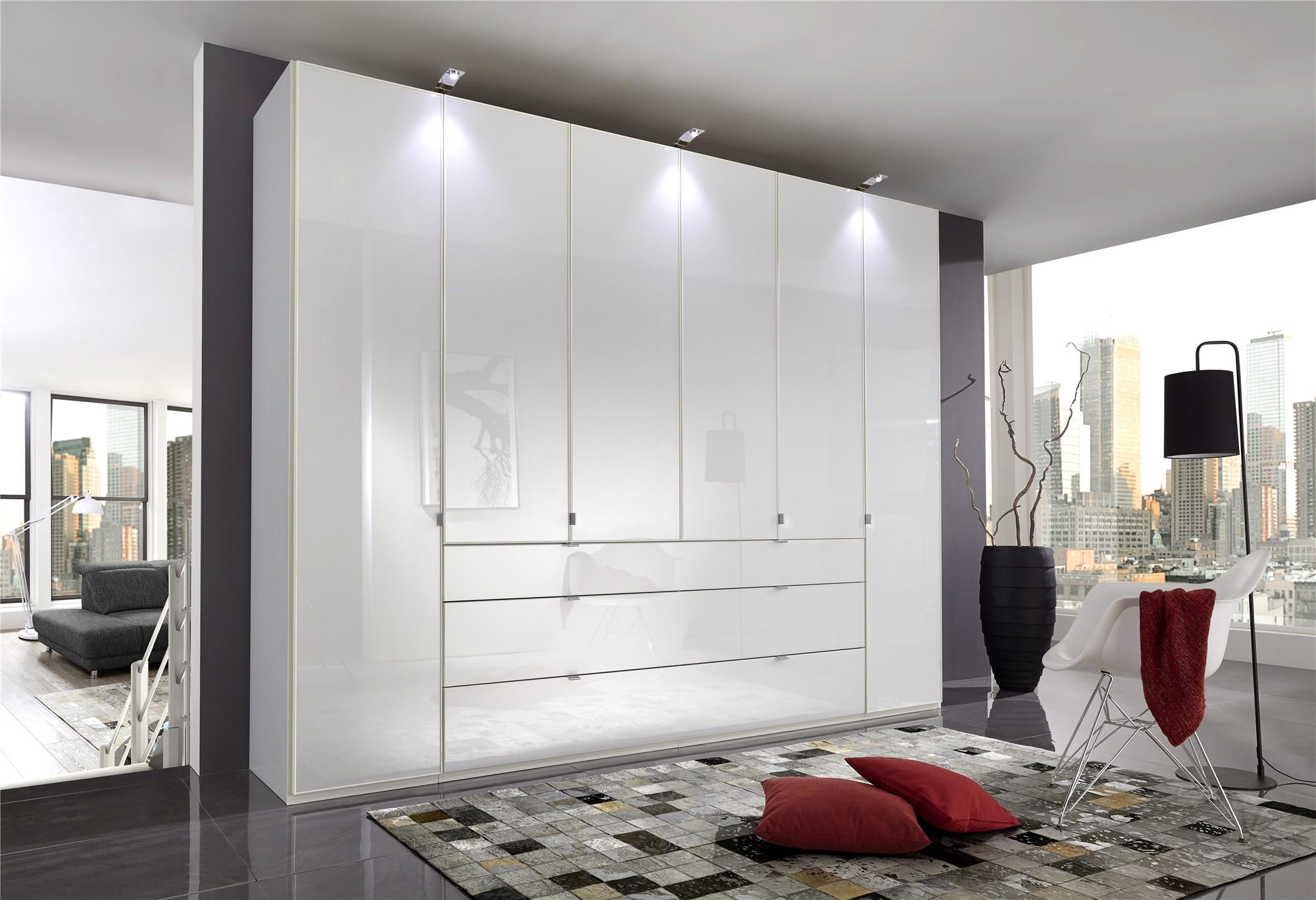 2 Door Wardrobe & 4+2 Drawer Chest in Black & Walnut Bedroom Furniture Set  6 Draw
