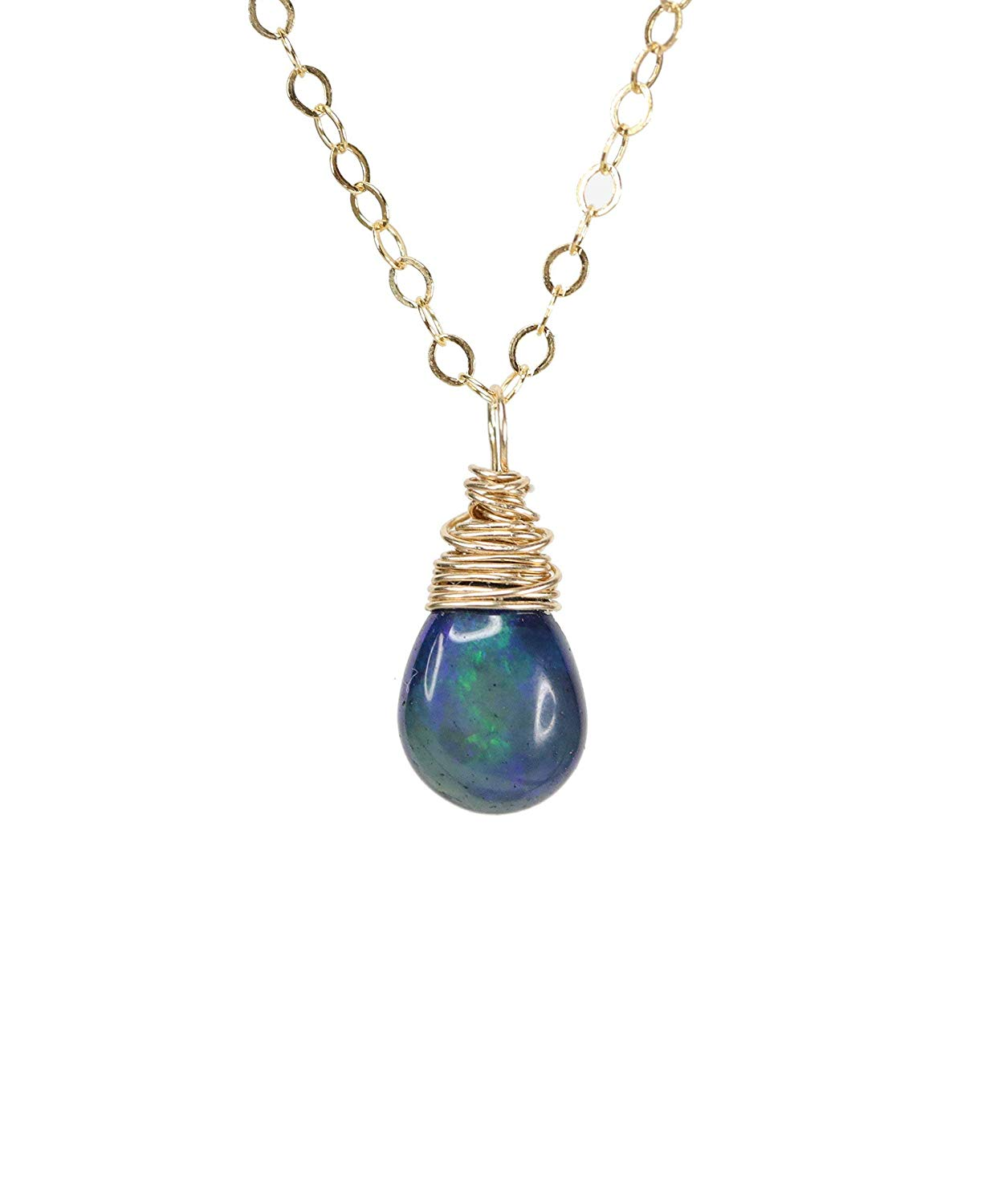 Get Quotations Real Blue Opal Gemstone Teardrop Pendant Dainty Necklace 14k Gold Filled 17