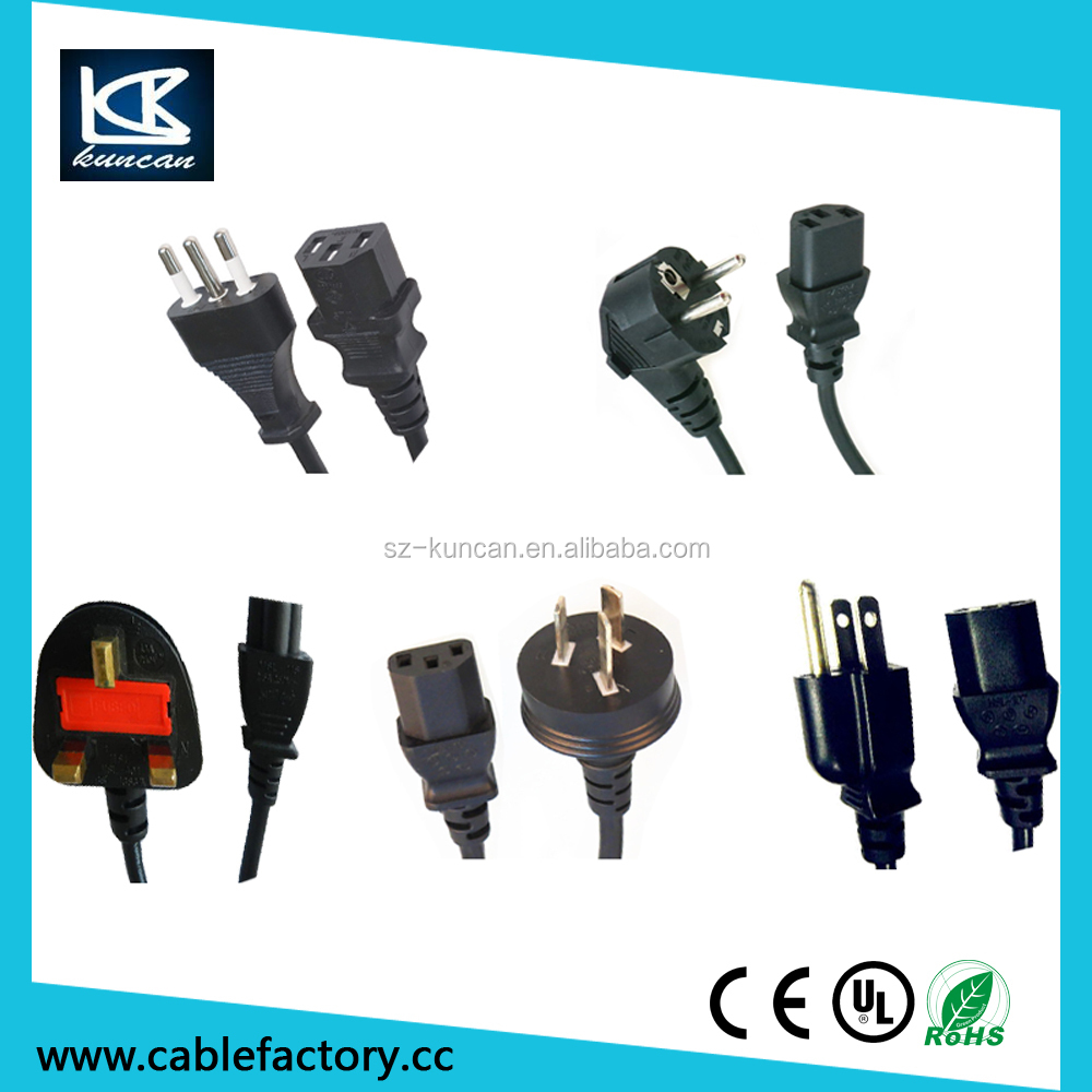 Schuko power cable Eruo Power Cord to IEC 320 C13 Right Angel connector from Shenzhen KUNCAN