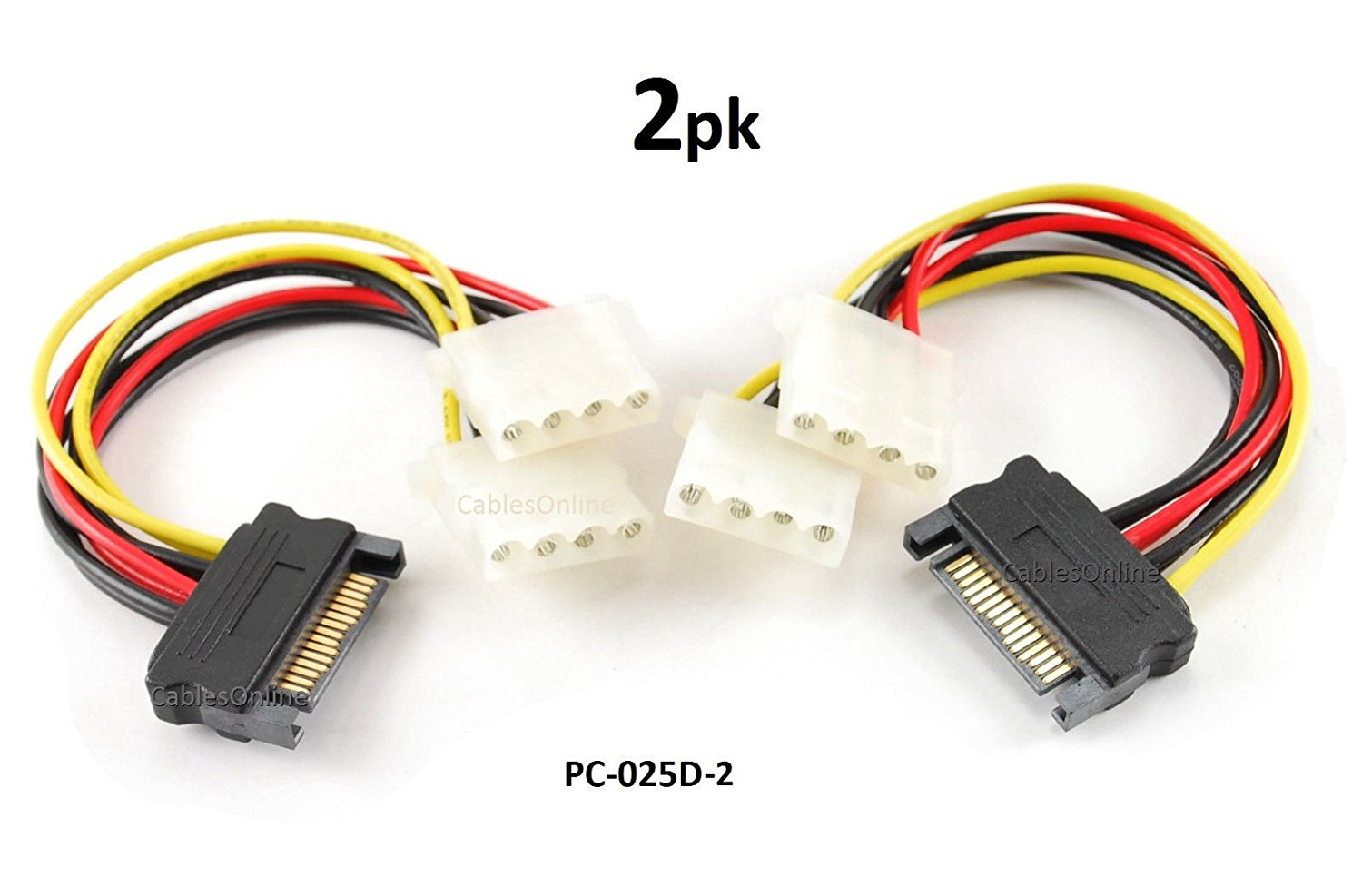 CablesOnline 2-PACK 6in SATA 15-Pin Male to Dual 4-Pin Molex Y Power Splitter - PC-025D-2
