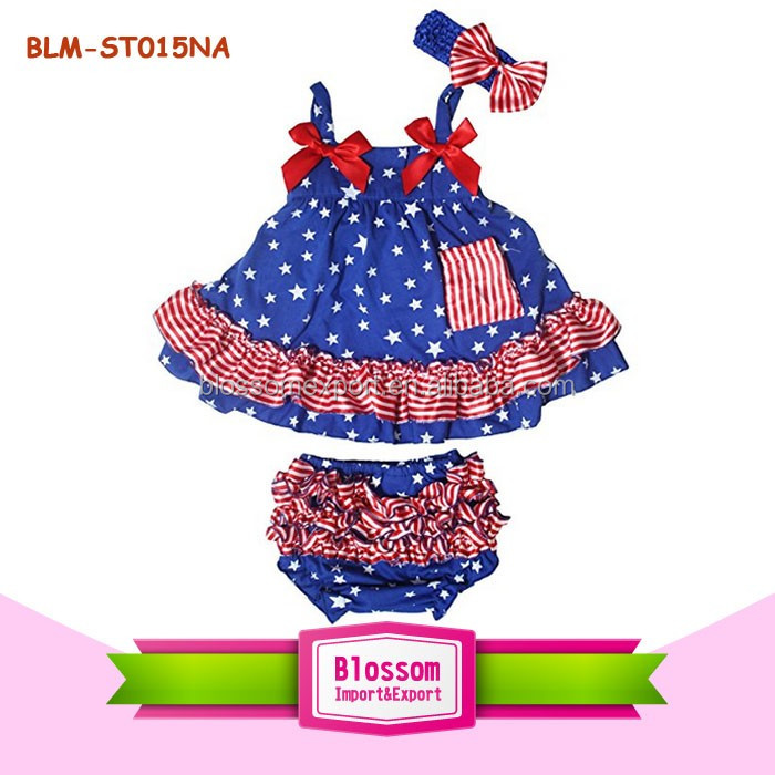3PCS Swing Top Bloomer Headband Set White Red Blue Patriotic Summer Ruffle Baby Girls 4th Of July Boutique Swing Outfits Sets