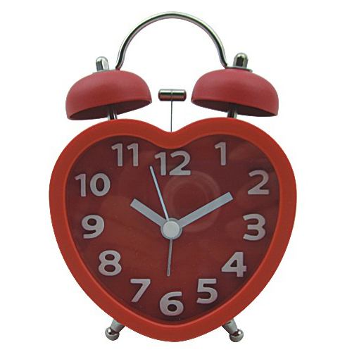 Heart Shape 3D Index Number Twin Bell Alarm Clock