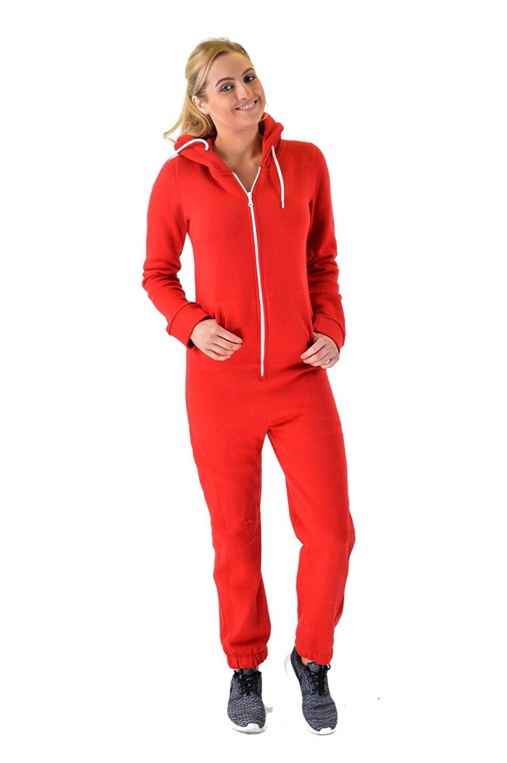 0d5cd713b0ad Get Quotations · Women Ladies All In One Plain Thick Fleece Onesie Jumpsuit  Tracksuit