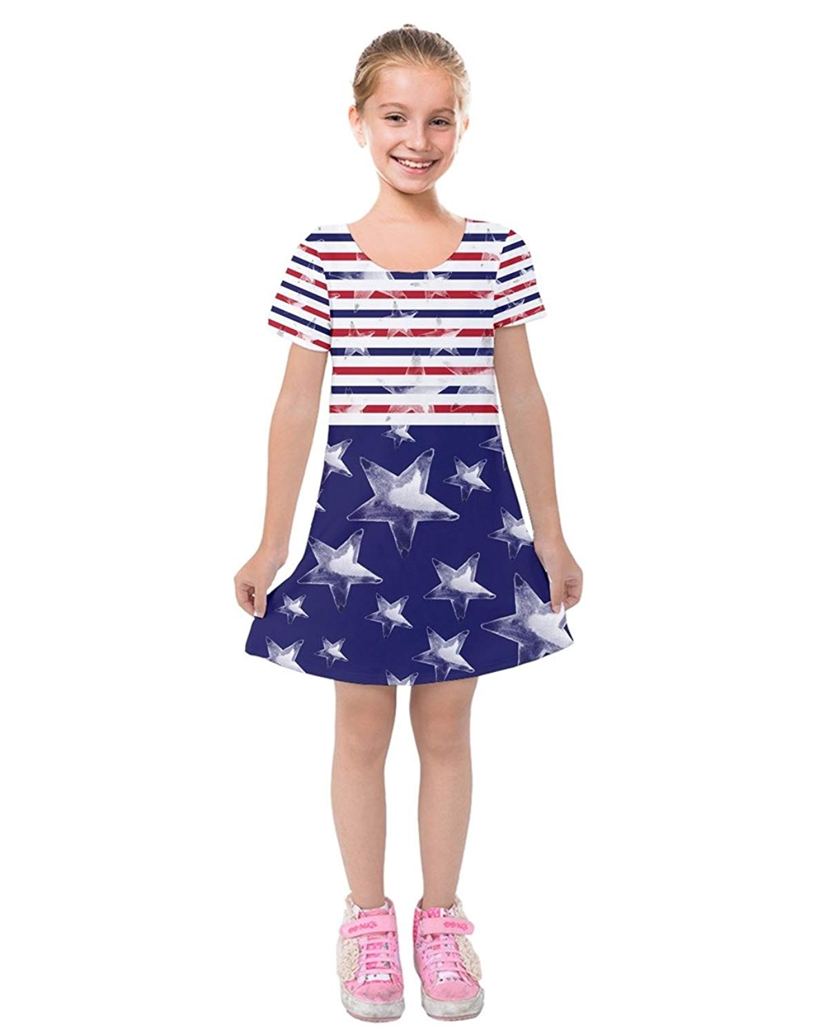3c86f215f74f Get Quotations · PattyCandy Toddler Girls Patriotic USA American Flag Outfit  Soft Short Sleeve Velvet Dress