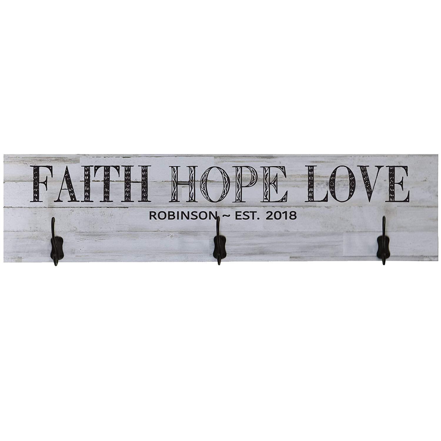 LifeSong Milestones Personalized Coat Rack Faith, Hope, Love Established Family Date Wall Signs Custom Last Name Wedding, Anniversary, Living Room, Entryway, Kitchen, Bedroom (Distressed White Plank)