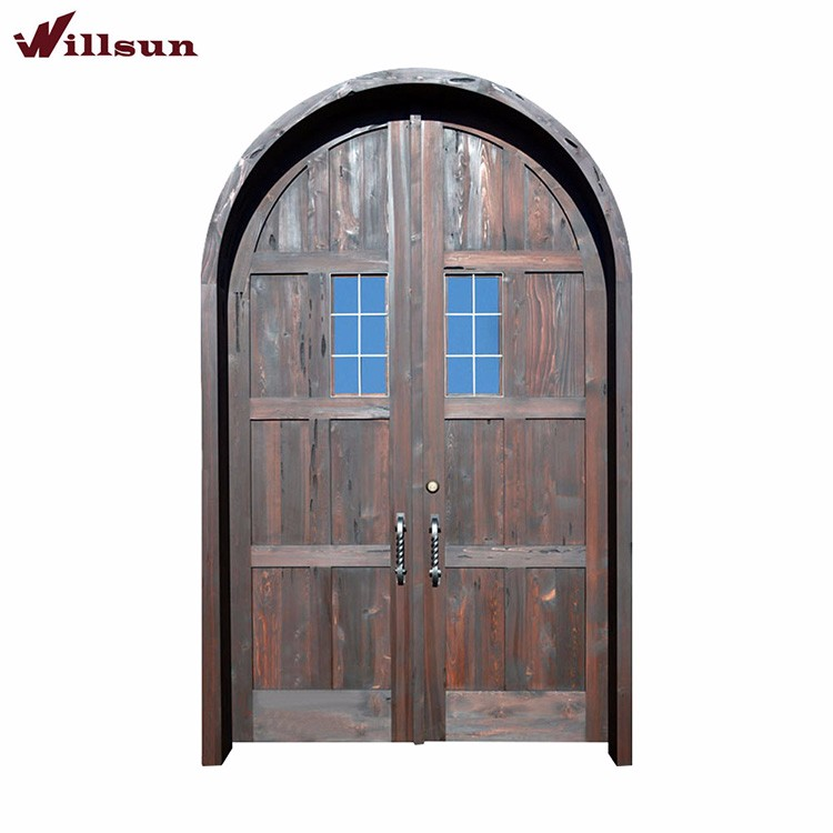 Knotty Wood Elliptical Arch Plank MainDouble Door design with Clavos and Speak Easy