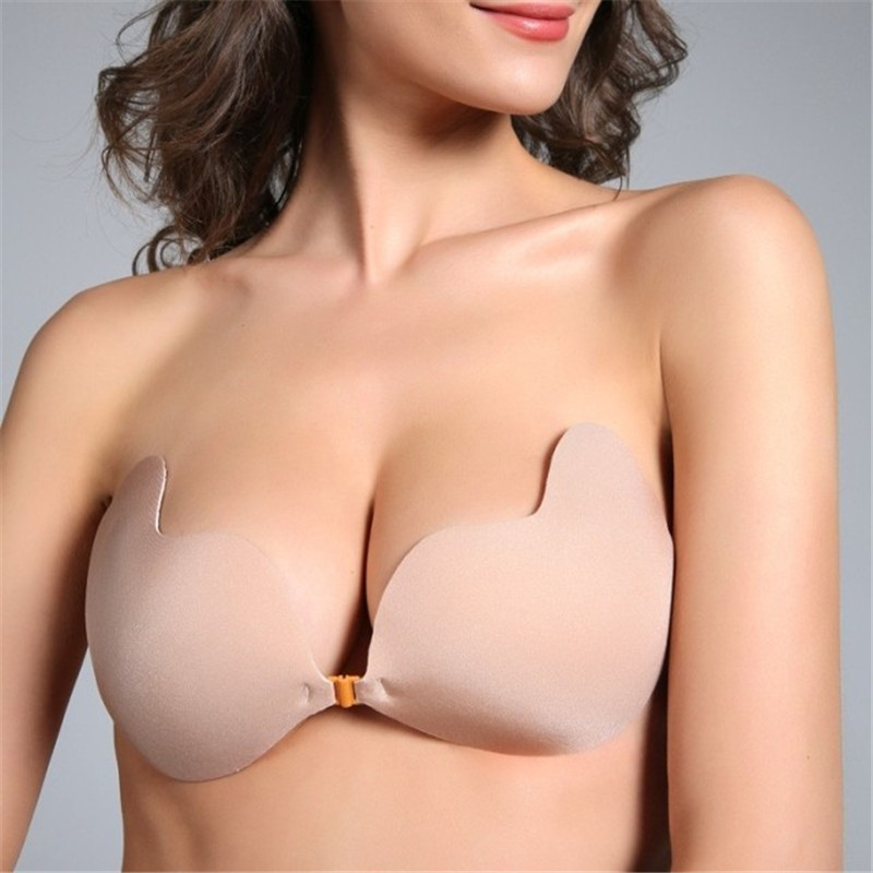 e8a4045adef Sport Women Sexy Push Up Bra Front Closure Self-Adhesive Silicone Seamless  Strapless Invisible Bra Wedding Party Swimming Bras