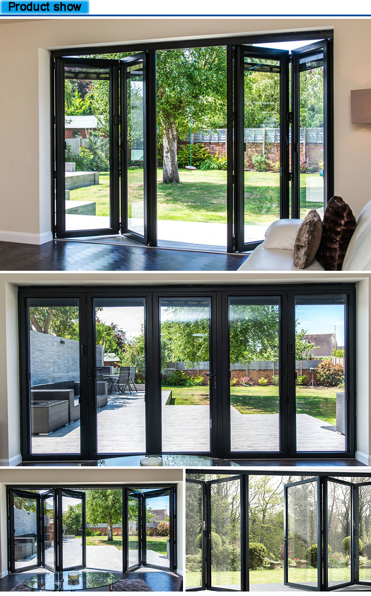 2019 Latest Design Exterior Bifold Door Aluminum Folding Glass Door Price