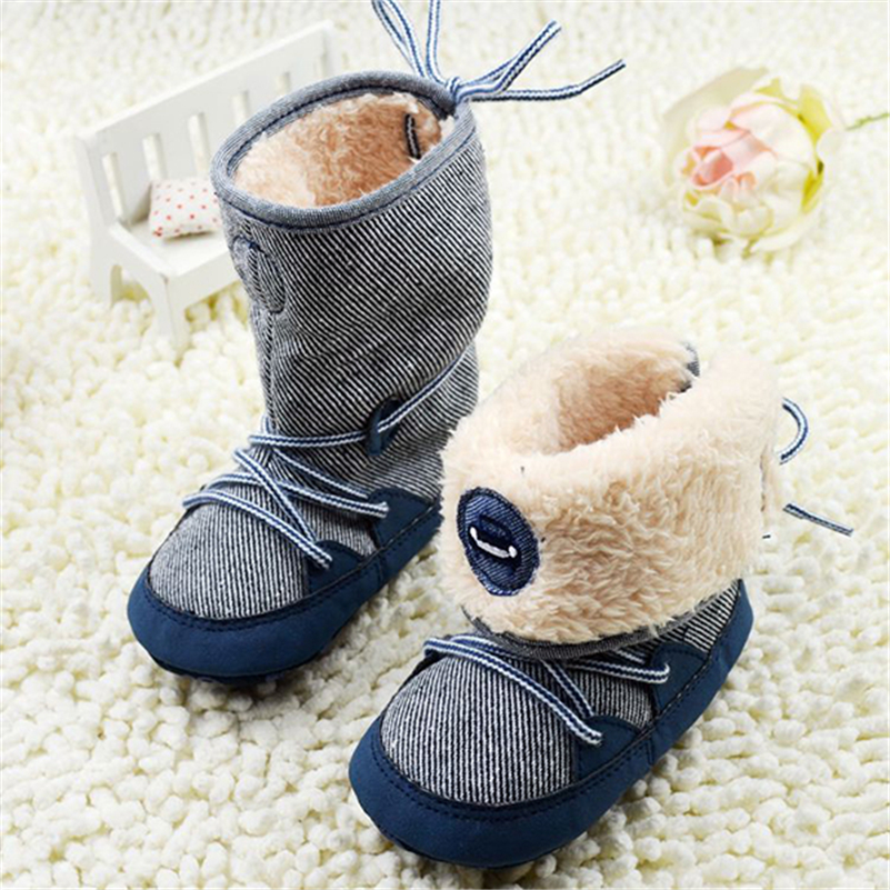 0 18Months Baby Boy Winter Warm Snow Boots Lace Up Soft
