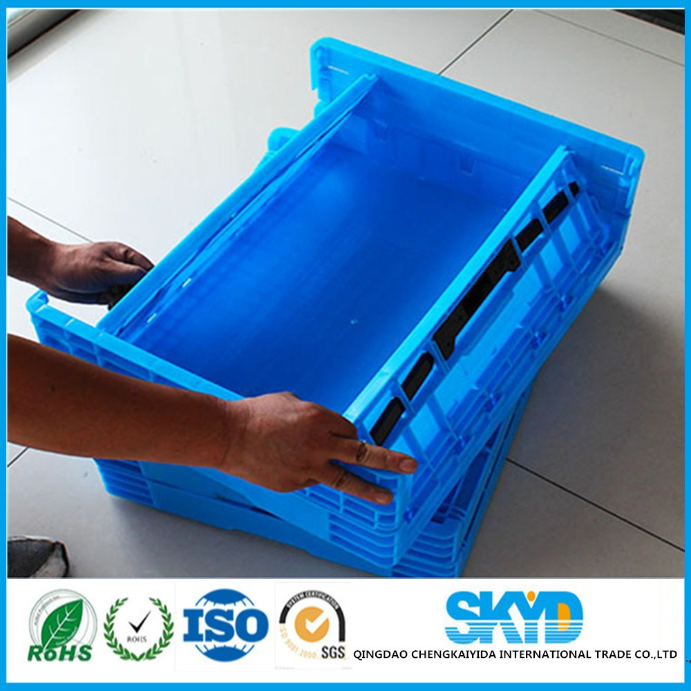 green insert stackable plastic folding vegetable crates